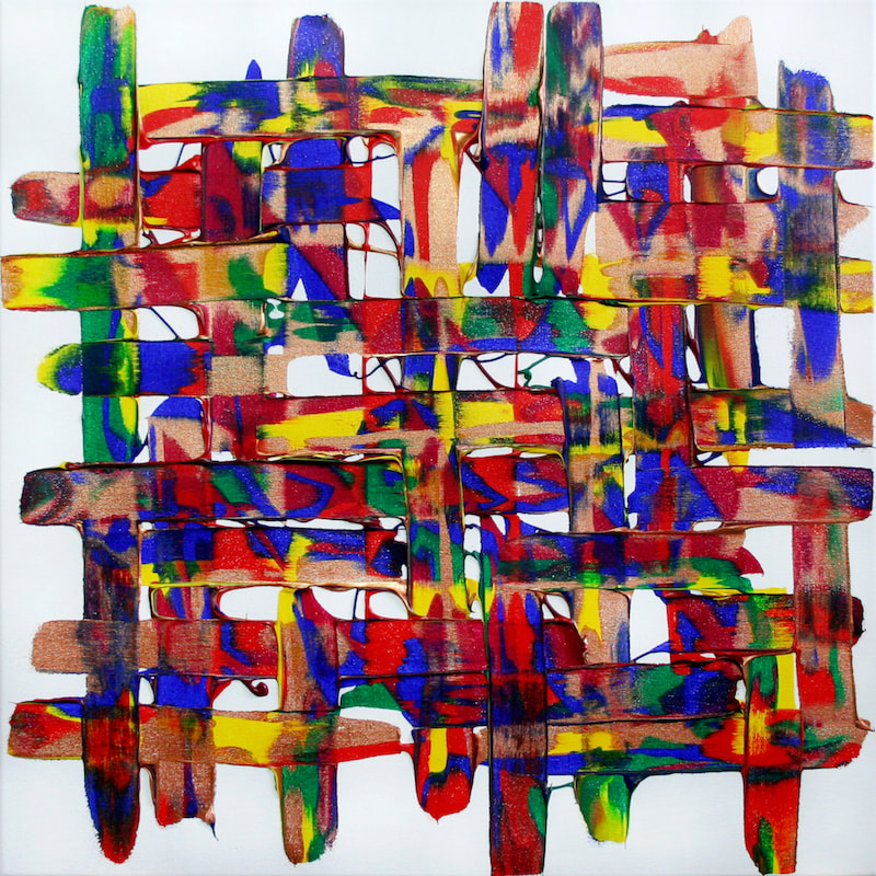 Livin' on a Prayer, after Bon Jovi. Colourful expressive abstract synaesthesia painting by Ali Barker.