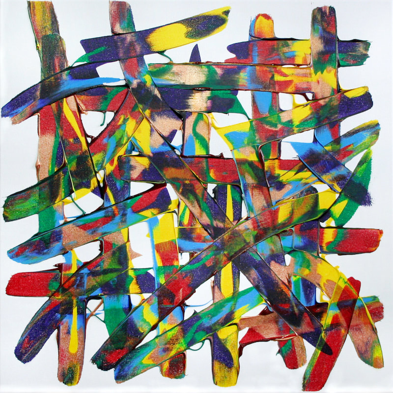 Someday I'll Be Saturday Night, after Bon Jovi. Colourful expressive abstract synaesthesia painting by Ali Barker.