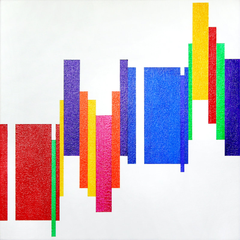 Tchaikovsky Violin Concerto 1st movement Introduction. Colourful geometric abstract synaesthesia painting by Ali Barker.