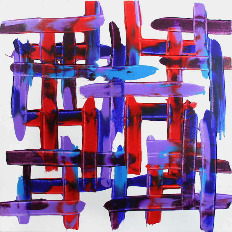 Three Lions, after the Lightning Seeds. Colourful expressive abstract synaesthesia painting by Ali Barker.