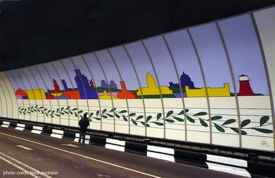 Wirral Composition skyline mural in the Birkenhead Tunnel